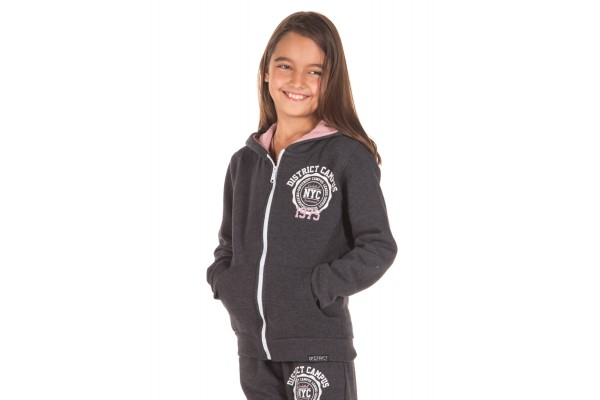 DISTRICT75 GIRLS' FULL ZIP HOODIE 219KGHZ-627 Αnthracite Μelange